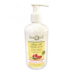 Жидкое мыло натуральное на основе оливкового масла с гранатом, 300 мл